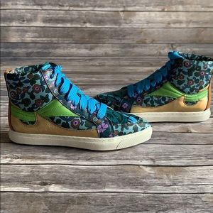 Coach Floral Pointed Toe High Top Sneakers 6.5&7.5